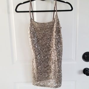 Vanity taupe sequin top size Small